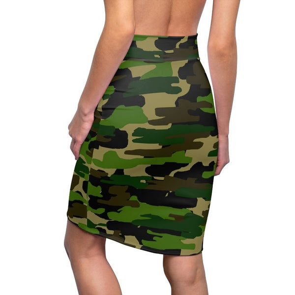 Green Camouflage Military Army Print Women's Pencil Skirt-Made in USA (Size XS-2XL)-Pencil Skirt-Heidi Kimura Art LLC