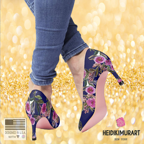 Navy Blue Floral Garden Purple Pink Rose Women's High Heels Canvas Shoes-3 inch Heels-Heidi Kimura Art LLC