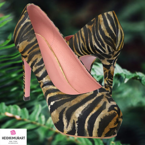 "Brown Tiger Stripe Women's Heels, Brown Bengal Tiger Stripe Animal Skin Pattern Designer Women's 4"" Platform Pumps High Heels Shoes (US Size: 5-11)"