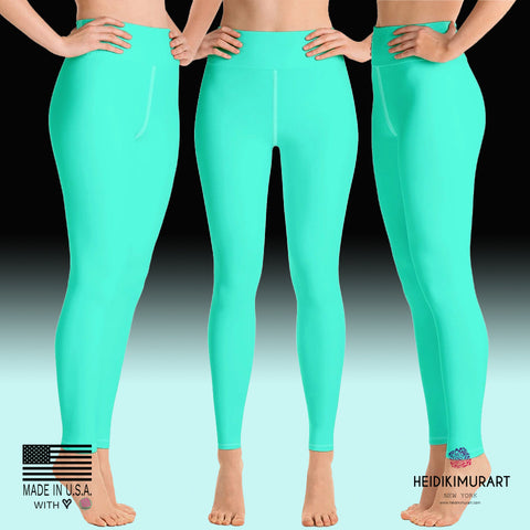 Women's Turquoise Blue Yoga Pants, Bright Solid Color Workout Tights, Made in USA/EU-Leggings-Heidi Kimura Art LLCTurquoise Blue Women's Leggings, Women's Turquoise Blue Bright Solid Color Yoga Gym Workout Tights, Long Yoga Pants Leggings Pants,Plus Size, Soft Tights - Made in USA/EU, Women's Turquoise Blue Solid Color Active Wear Fitted Leggings Sports Long Yoga & Barre Pants (US Size: XS-XL)