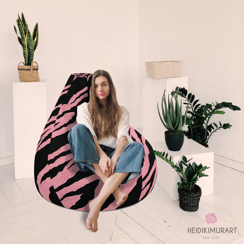 "Pink Tiger Stripe Bean Bag, Animal Print Designer Large Sofa Chair w/ filling Water Resistant Polyester Bean Sofa Bag W: 58""x H: 41"" With Filling Or Bean Bag Cover- Made in Europe, Comfortable Bean Bag Sofa Chair Indoor Portable Furniture"