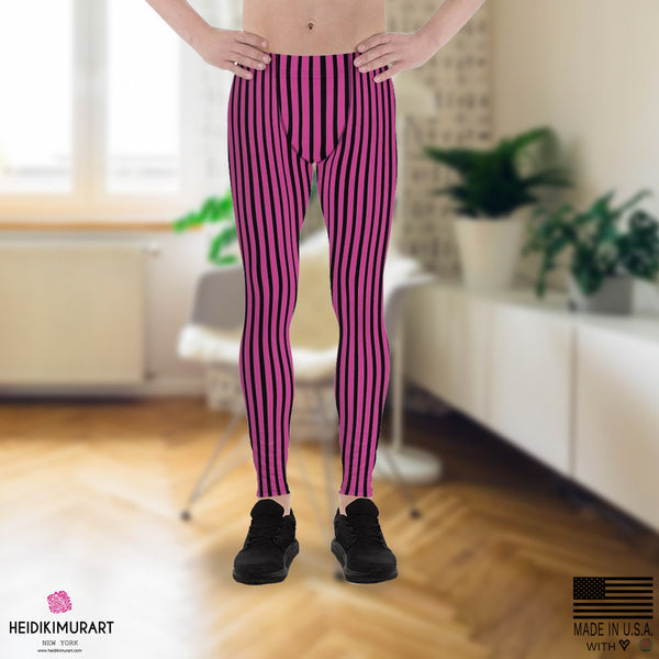 Hot Pink Striped Meggings, Hot Pink Black Stripe Print Modern Fashionable Men's Running Workout Gym Circus Carnival Festival Leggings & Run Tights Meggings Activewear- Made in USA/ Europe (US Size: XS-3XL)