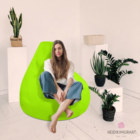 "Neon Green Bean Bag Chair, Modern Minimalist Solid Color Designer Large Sofa Chair w/ filling or Bean Bag Cover Only, Water Resistant Polyester Bean Sofa Bag W: 58""x H: 41"", Best Sofa Chair Living Room Seat Indoor Big Furniture"