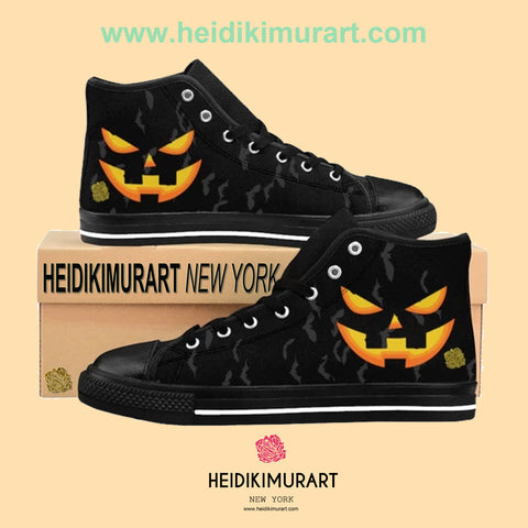 Men's Halloween Party Bats Orange Creepy Pumpkin Face Men's High-Top Sneakers Tennis Shoes (US Size: 6-14)