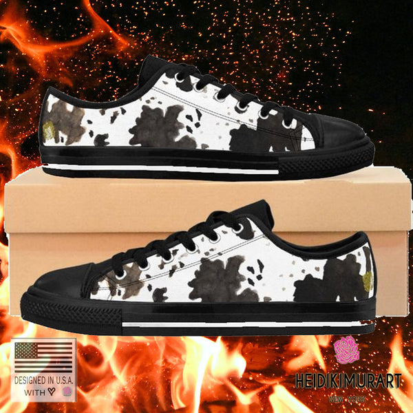 Moo Cow Print Animal Artistic Men's Low Top Nylon Canvas Sneakers Tennis Shoes-Men's Low Top Sneakers-Heidi Kimura Art LLC Cow Print Men's Sneakers, Moo Cow Print Animal Artistic High Fashion Men's Low Top Nylon Canvas Sneakers Shoes (US Size: 6-14)