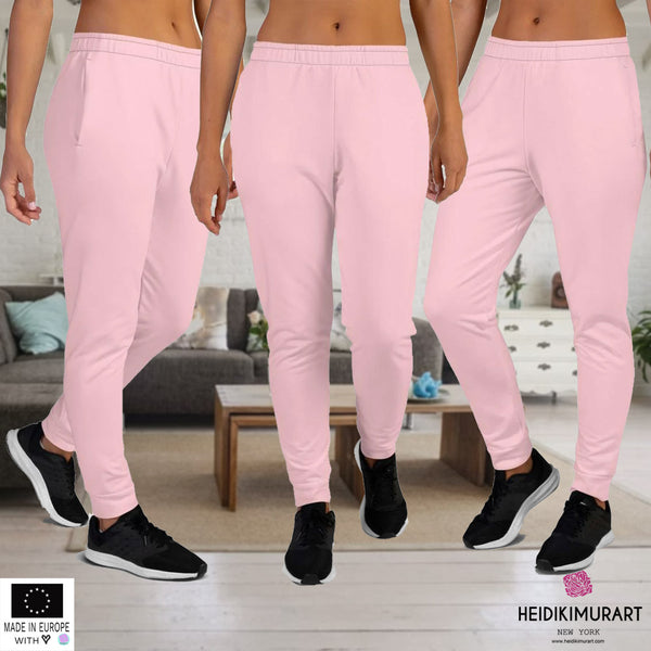 Light Pink Women's Joggers, Light Ballet Pink Solid Pastel Color Premium Printed Slit Fit Soft Women's Joggers Sweatpants -Made in EU (US Size: XS-3XL) Plus Size Available, Solid Coloured Women's Joggers, Soft Joggers Pants Womens