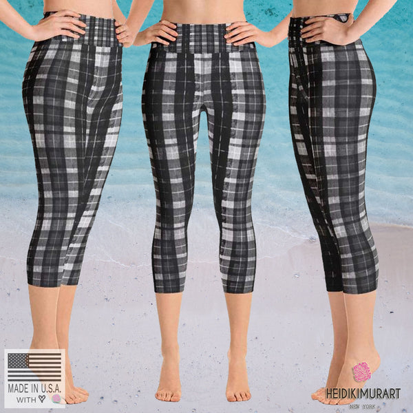 Black Plaid Women's Yoga Capri Pants Leggings Plus Size Available- Made In USA-Capri Yoga Pants-Heidi Kimura Art LLC Black Plaid Yoga Capri Pants, Black White Plaid Women's Yoga Capri Pants Leggings With Pockets Plus Size Available- Made In USA/ Europe (US Size: XS-XL)