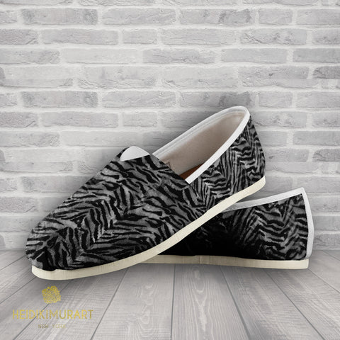 Gray Tiger Striped Women's Slip on Sneakers, Animal Print Designer Women's Shoes-Slip-On Sneakers-Heidi Kimura Art LLC