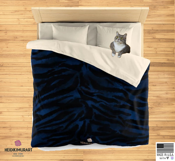 Blue Tiger Stripe Duvet Cover, Animal Print Queen/Twin Size Microfiber Cover-Made in USA-Duvet Cover-Heidi Kimura Art LLC