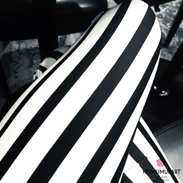 Modern Black Black White Vertically Striped Meggings, and White Vertical Striped Men's Circus Running Workout Gym Leggings & Run Tights Meggings Activewear- Made in USA/ Europe (US Size: XS-3XL) Compression Tights, Circus Leggings, Costume Music Festival Leggings