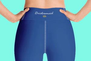 Bridesmaid Graphic Text Printed Premium Quality Navy Blue Women's Yoga Capri Leggings Pants, Bridesmaid Gift, Made in USA (US Size: XS-XL)