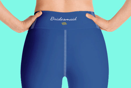 Bridesmaid Text Navy Blue Solid Color Yoga Capri Leggings-Made in USA-Capri Yoga Pants-Heidi Kimura Art LLC