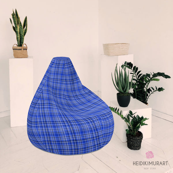 "Blue Plaid Bean Bag Chair, Blue Tartan Plaid Print Water Resistant Polyester Bean Sofa Bag W: 58""x H: 41"" Chair, 3.4' Tall,  With Filling Or Bean Bag Cover Without Filling- Made in Europe"