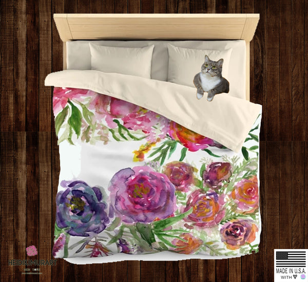 Mixed Summer Floral Pattern Green Queen Size or Twin Size Microfiber Duvet Cover - Heidi Kimura Art LLC