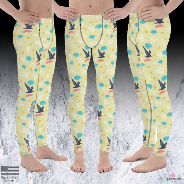 Free Flying Bird Print Men's Yoga Pants Running Leggings & Tights- Made in USA/ Europe (US Size: XS-3XL)