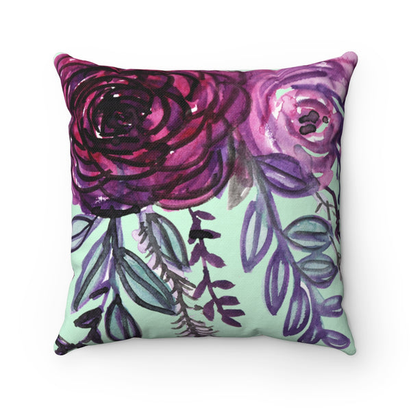 Purple Floral English Rose Print Premium Luxury Polyester Square Pillow - Made in USA-Pillow-Heidi Kimura Art LLC