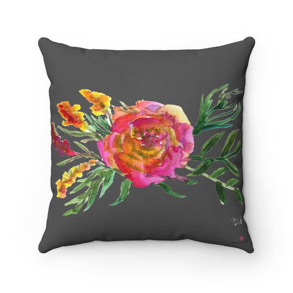 Pink Rose Girlie Floral Print Pink Rose Gray Spun Polyester Square Pillow - Made in USA-Pillow-Heidi Kimura Art LLC