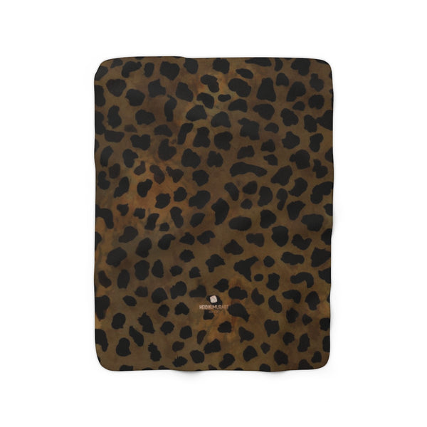 Cheetah Animal Print Blanket, Brown Cheetah Print Cozy Sherpa Fleece Blanket-Made in USA-Blanket-50'' x 60''-Heidi Kimura Art LLC