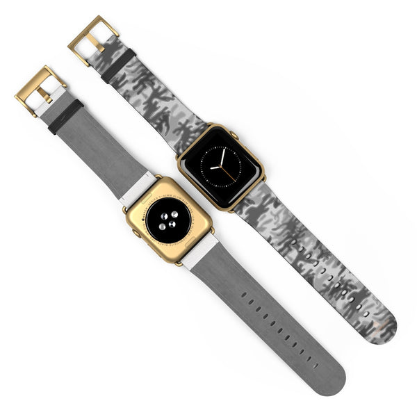 Light Grey Classic Camo Print 38mm/42mm Watch Band For Apple Watch- Made in USA-Watch Band-Heidi Kimura Art LLC