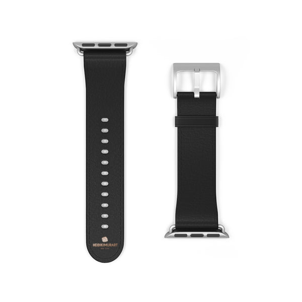 Black Solid Color Print 38mm/ 42mm Watch Band Strap For Apple Watches- Made in USA-Watch Band-38 mm-Silver Matte-Heidi Kimura Art LLC