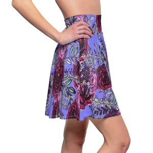 Kei Purple Rose Floral Print Women's Skater Skirt - Made in USA (US Size: XS-2XL)