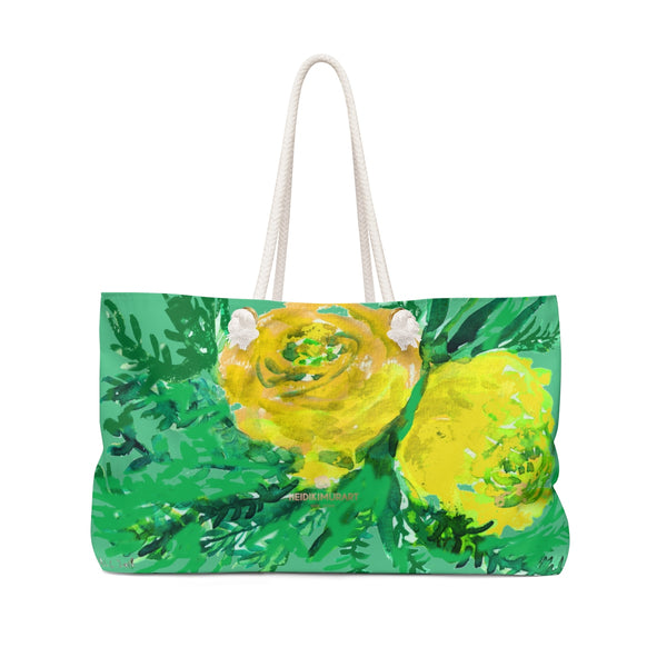 "Turquoise Blue Yellow Rose Floral Print Oversized 24""x13"" Large Weekender Bag-Weekender Bag-24x13-Heidi Kimura Art LLC"