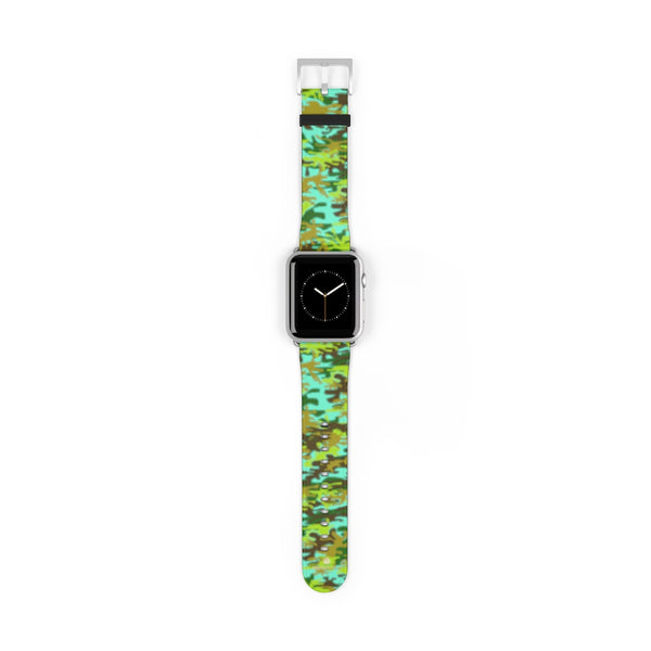 Light Blue Green Camo Print 38mm/ 42mm Watch Band For Apple Watches- Made in USA-Watch Band-42 mm-Silver Matte-Heidi Kimura Art LLC