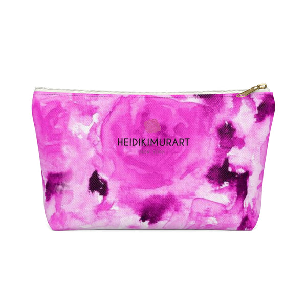 Naoko Pink Olympia Sweet Pink Rose Floral Designer Accessory Pouch with T-bottom - Heidi Kimura Art LLC