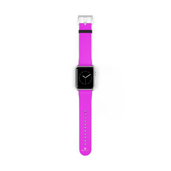 Hot Pink Solid Color Solid Color 38mm/42mm Watch Band For Apple Watches- Made in USA-Watch Band-42 mm-Silver Matte-Heidi Kimura Art LLC