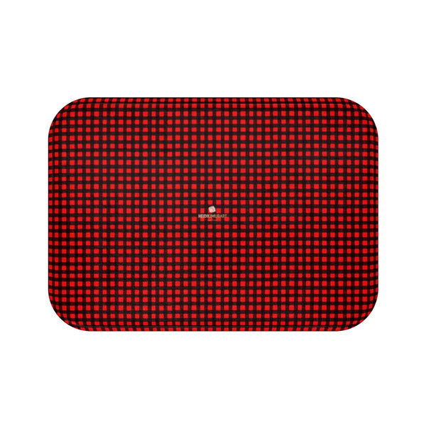 Buffalo Red Plaid Print Designer Bathroom Anti-Slip Microfiber Bath Mat-Made in USA-Bath Mat-Small 24x17-Heidi Kimura Art LLC