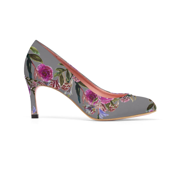 Gray Floral Garden Purple Pink Rose Designer Women's High Heels Canvas Shoes-3 inch Heels-Heidi Kimura Art LLC Gray Floral Women's Heels, Gray Floral Garden Purple Pink Rose Designer Women's High Heels Canvas Shoes (US Size: 5-11)