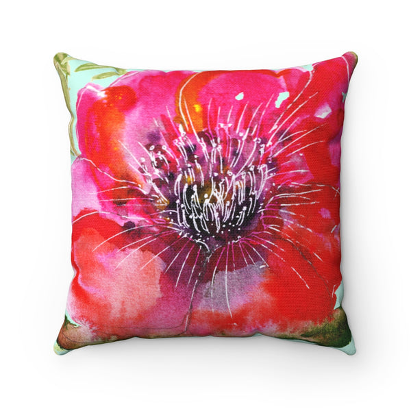 Red Girlie Floral Print Hibiscus Red Flower Designer Spun Polyester Square Pillow-Pillow-Heidi Kimura Art LLC