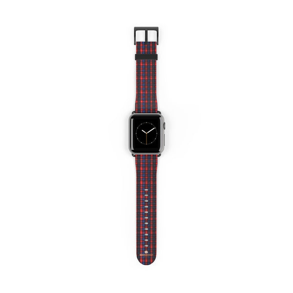 Red Blue Plaid Tartan Print 38mm/42mm Watch Band For Apple Watch- Made in USA-Watch Band-38 mm-Black Matte-Heidi Kimura Art LLC