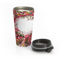 Red Autumn Floral Print Stainless Steel  15 oz (0.44 l) Travel Mug, Made in USA  Red Gateway Autumn Floral Print Stainless Steel Travel Mug, Made in USA - Heidi Kimura Art LLC