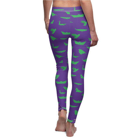 Purple Green Japanese Crane Origami Print Women's Dressy Casual Leggings-Made in USA-Casual Leggings-White Seams-M-Heidi Kimura Art LLC