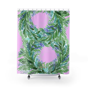 "Pink French Lavender Floral Print Designer Polyester Shower Curtains- Printed in USA-Shower Curtain-71"" x 74""-Heidi Kimura Art LLC Pink French Lavender Bath Curtains,Designer Cute Pastel Pink Purple French Lavender Floral Print - Printed in USA, Polyester Large Size 100% Polyester 71x74 inches Shower Curtains"