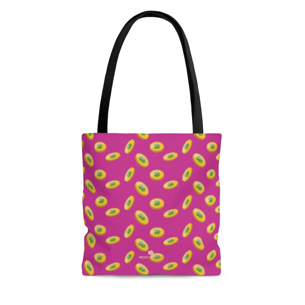 Hot Pink Gold Coins Lucky Irish Green Clover Leaf Shamrock Print Tote Bag- Made in USA-Beach Tote Bag-Large-Heidi Kimura Art LLC