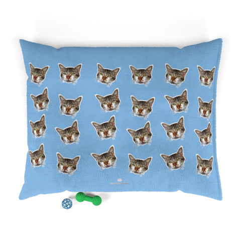 Light Blue Cat Pet Bed, Solid Color Machine-Washable Pet Pillow With Zippers-Printed in USA-Pets-Printify-50x40-Heidi Kimura Art LLC