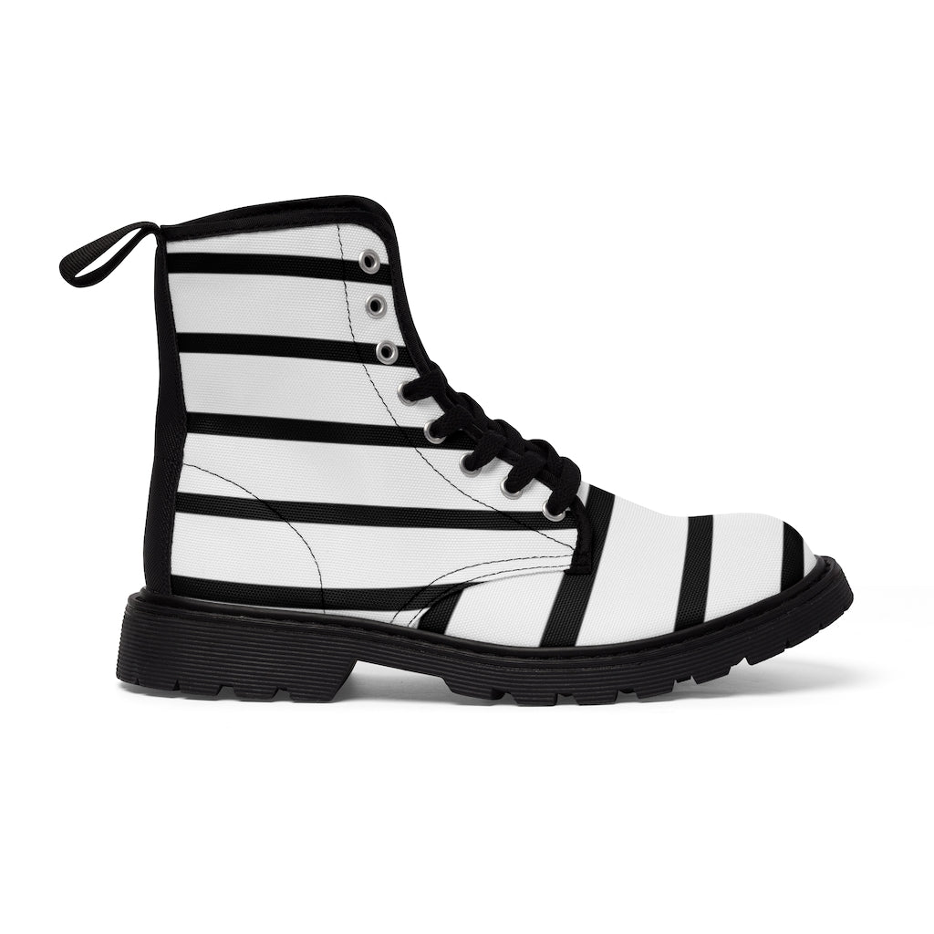 Striped Women's Canvas Boots, Modern White Black Stripes Print Winter Boots For Ladies-Shoes-Printify-Black-US 9-Heidi Kimura Art LLC