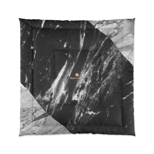 Gray Black White Marble Print Comforter For King/Queen/Full/Twin Bed - Made in USA-Comforter-88x88 (Queen Size)-Heidi Kimura Art LLC