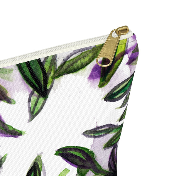 Green Foliage Print Accessory Pouch with T-bottom Makeup Bag - Made in USA-Accessory Pouch-Heidi Kimura Art LLC