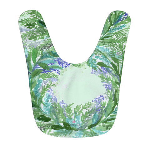 Light Green Soft Lavender Floral Print Designer Fleece Baby Bib - Made in USA-Baby Bib-One Size-Heidi Kimura Art LLC