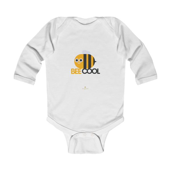 Bee Infant Long Sleeve Bodysuit, Be Cool Cute Baby Boy or Girls Kids Clothes- Made in USA-Infant Long Sleeve Bodysuit-White-18M-Heidi Kimura Art LLC