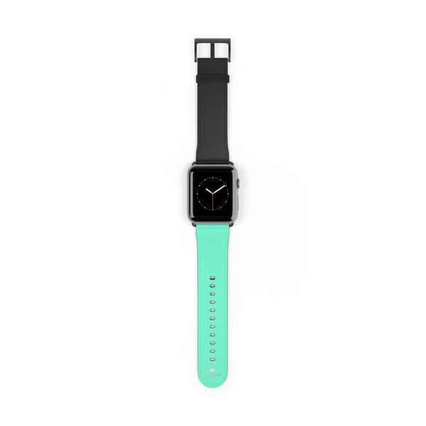 Dual Color Black & Light Blue 38mm/ 42mm Watch Band For Apple Watch- Made in USA-Watch Band-42 mm-Black Matte-Heidi Kimura Art LLC