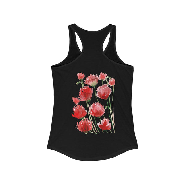 Tadayoshi Red Poppy Flower Floral Print Women's Ideal Racerback Tank - Made in the USA-Tank Top-Heidi Kimura Art LLC