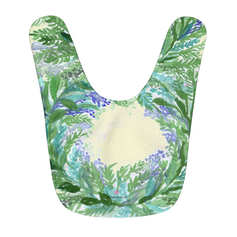 Light Yellow Soft Lavender Floral Print Fleece Baby Bib - Designed and Made in USA-Baby Bib-One Size-Heidi Kimura Art LLC