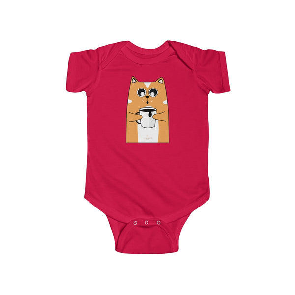 Orange Cat Loves Coffee Infant Fine Jersey Regular Fit Unisex Bodysuit - Made in UK-Infant Short Sleeve Bodysuit-Red-NB-Heidi Kimura Art LLC