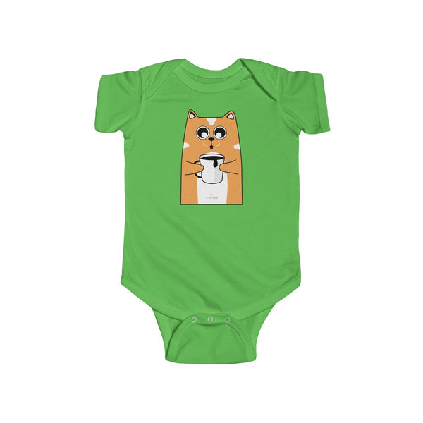 Orange Cat Loves Coffee Infant Fine Jersey Regular Fit Unisex Bodysuit - Made in UK-Infant Short Sleeve Bodysuit-Apple-12M-Heidi Kimura Art LLC