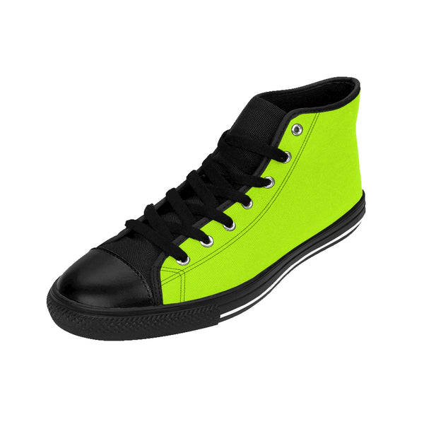 Light Green Solid Color Print Premium Men's High-top Fashion Sneakers Casual Shoes-Men's High Top Sneakers-Heidi Kimura Art LLC