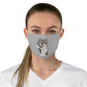 "Grey Peanut Meow Face Mask, Adult Cute Cat Print Fabric Face Mask-Made in USA-Accessories-Printify-One size-Heidi Kimura Art LLC Peanut Meow Cat Face Mask, Adult Cats Print Best Designer Fashion Face Mask For Men/ Women, Designer Premium Quality Modern Polyester Fashion 7.25"" x 4.63"" Fabric Non-Medical Reusable Washable Chic One-Size Face Mask With 2 Layers For Adults With Elastic Loops-Made in USA"